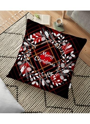 Real Homes Ekose Merry Christmas Desenli Dijital Baskılı Yer Minderi - 70 x 70 cm Renkli